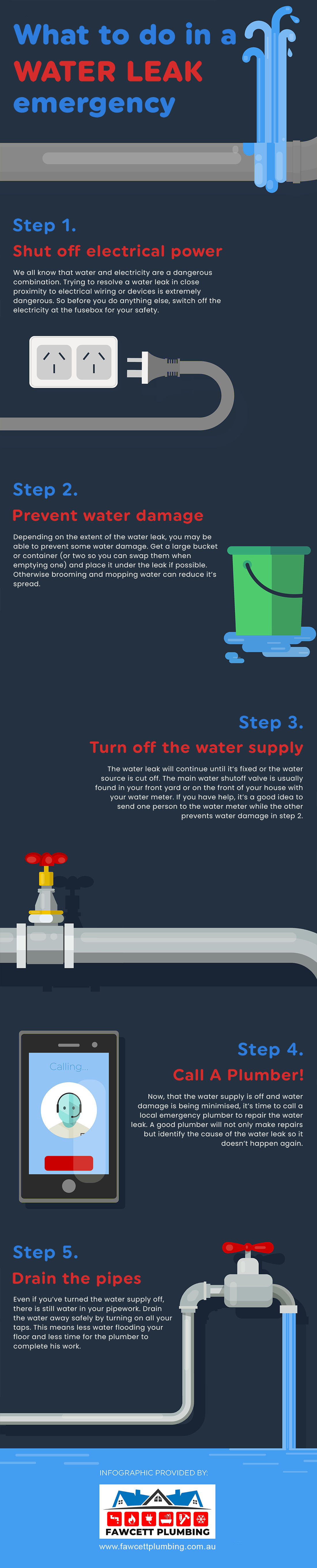 What To Do In A Water Leak Emergency Infographic